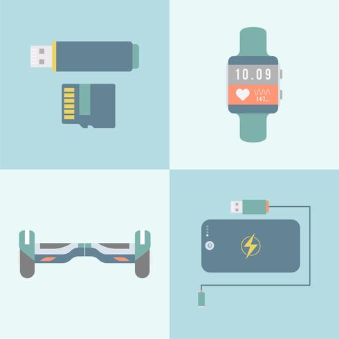 Set of different modern gadgets and devices