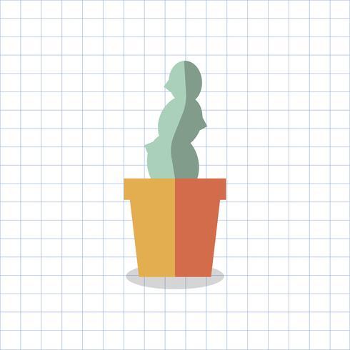 Ilustração de um cacto colorido em uma panela