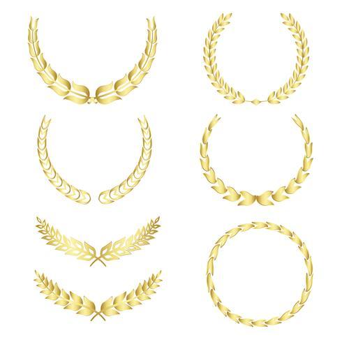 Set of laurel wreath illustration vectors