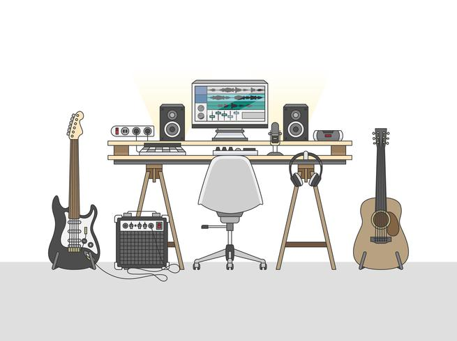 Área de trabalho de um engenheiro de áudio ou produtor musical