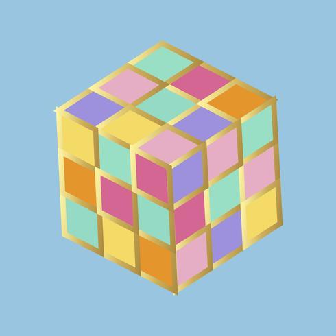 Rubiks kub i regnbågens färger vektor