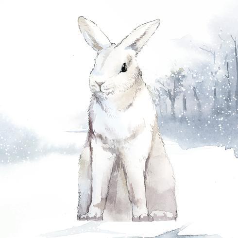 Lapin blanc sauvage au pays des merveilles de l'hiver peint par vecteur aquarelle