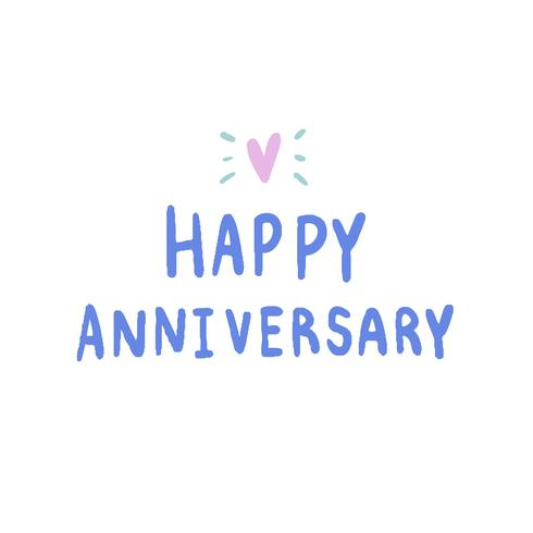 Happy Anniversary typography in blue