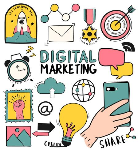 Hand drawn set of digital marketing symbols illustration