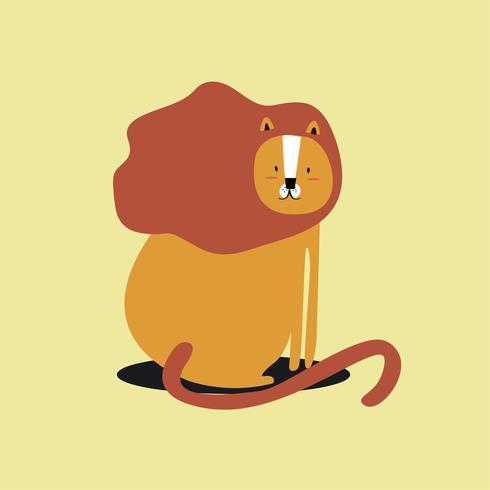 Cute wild lion cartoon illustration