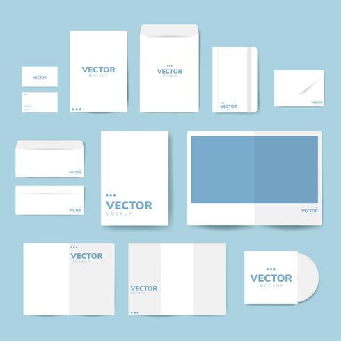Sats av tryckmaterial design mockup vektor