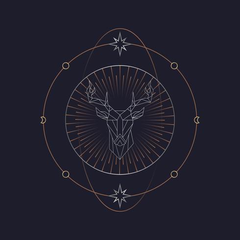 Carta de tarot astrológica de alce geométrica