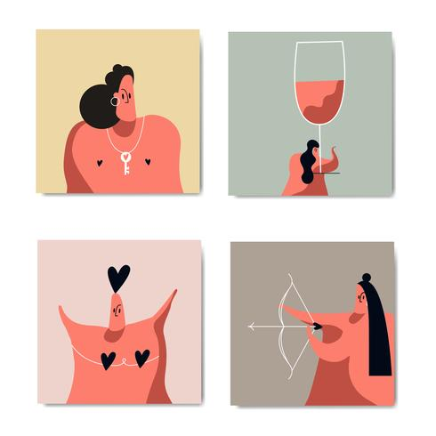 Romance e amor conjunto de imagens