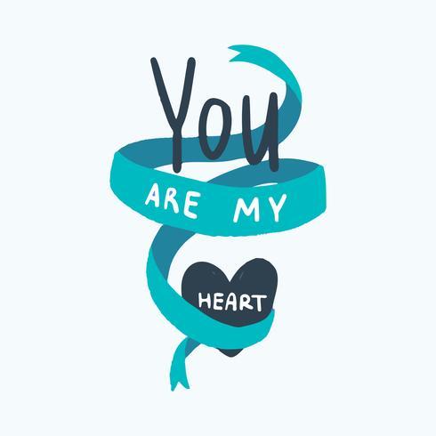 Du bist mein Herz Typografie Vektor