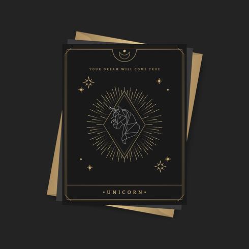 Geometric unicorn astrological tarot card
