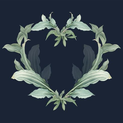 Empty frame with green leaves design vector