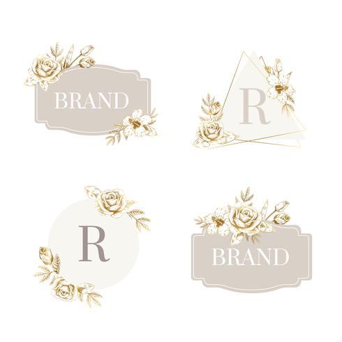 Set di badge floreali