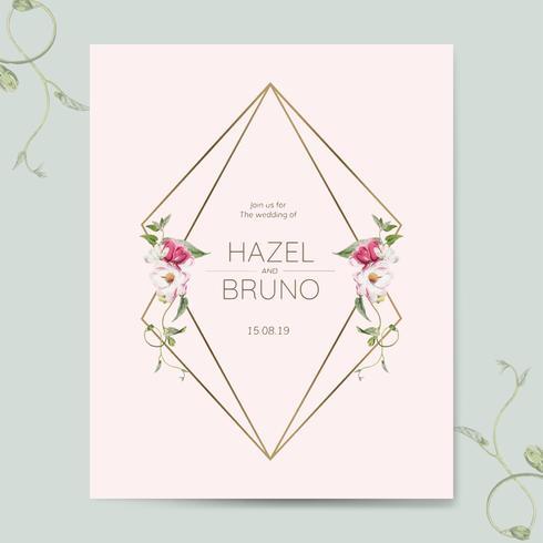 Vettore di mockup della carta dell'invito di nozze