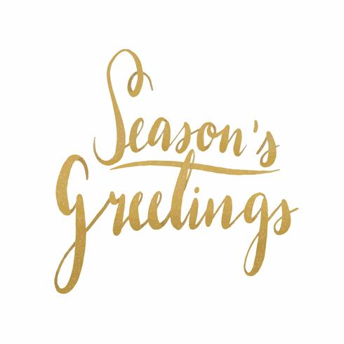 Seasons Greetings watercolor typography vector