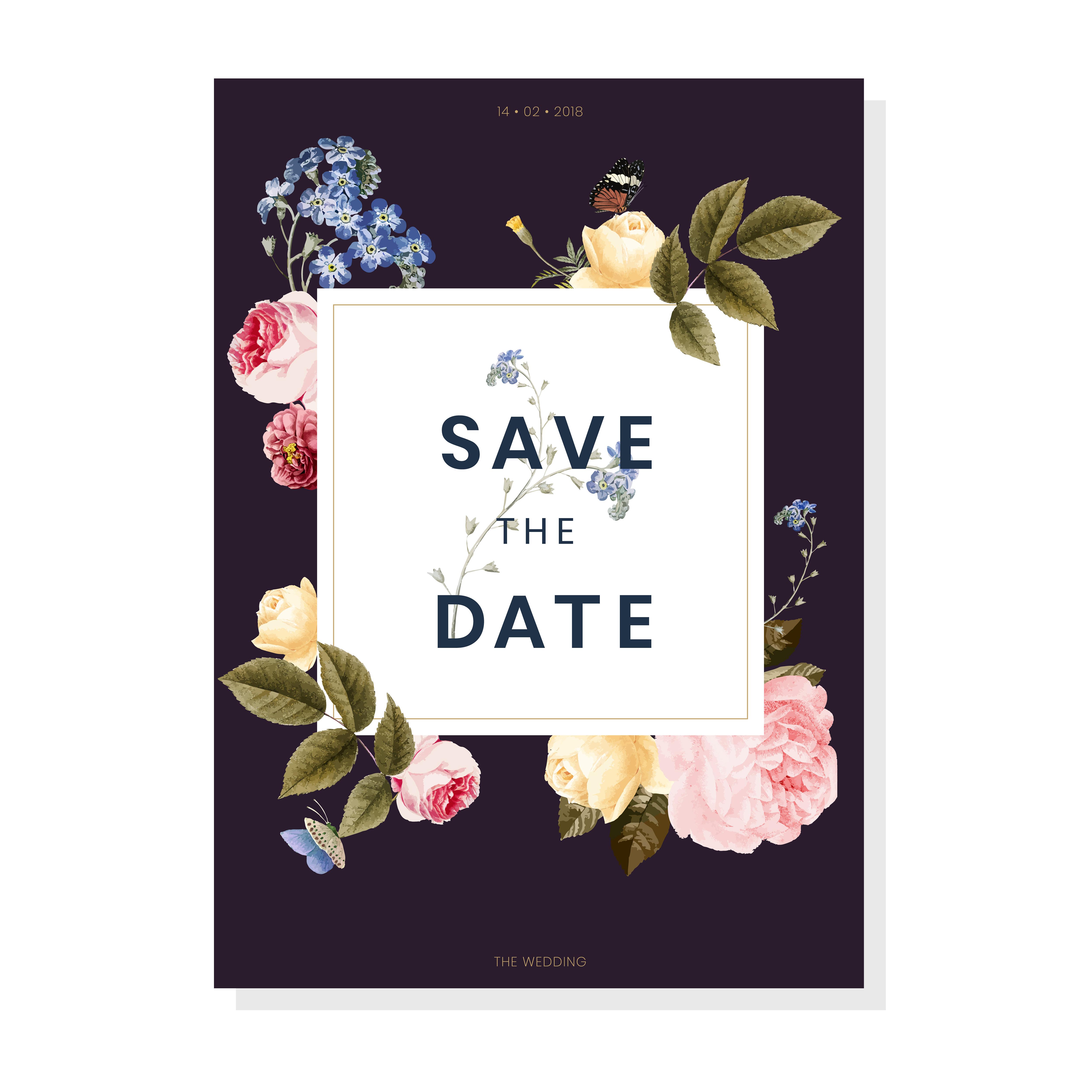 Vintage Invitation Card: Save The Date Wedding Invitation