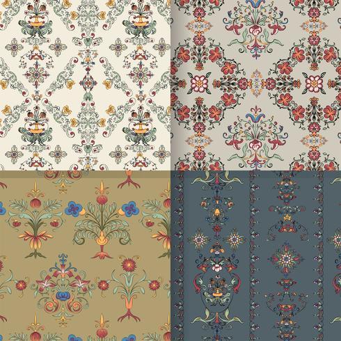 Vintage flourish pattern background set