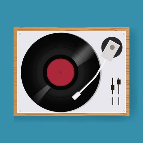 Retro- Vinyldiskettenspieler-Ikonen-Illustrations-Vektor