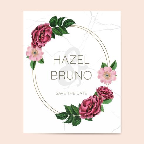 Convite de casamento com vetor de design floral frame
