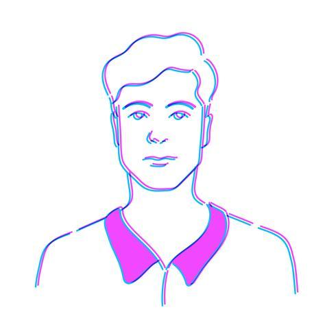 Illustration d'un homme isolé sur fond blanc