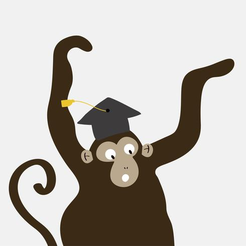 Excited monkey wearing a graduation hat cartoon vector
