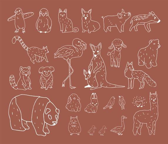 Handd-rawn of wildlife collection illustration