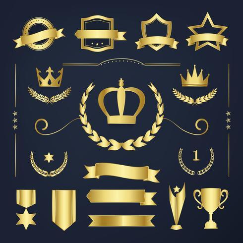Insignias de calidad premium y vectores de colección de banners