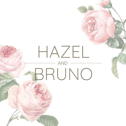 Cartão de convite de casamento decorado com vetor de rosas
