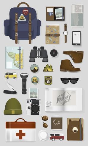 Illustrazione del set di imballaggio in viaggio
