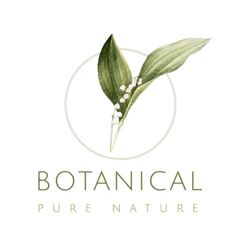 Vetor de logotipo natureza pura botânica