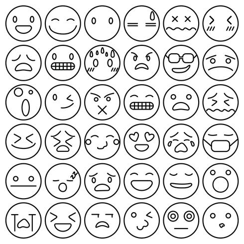 Emoji uttryckssymboler sätta ansiktsuttryck känslor samling vektor illustration