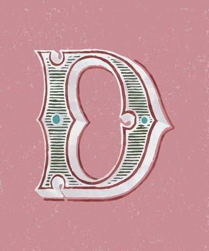 Mayúscula D tipografía vintage estilo