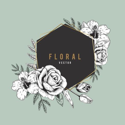 Romantiskt blommigt emblem