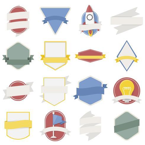 Ilustração, de, emblemas, cobrança vetor