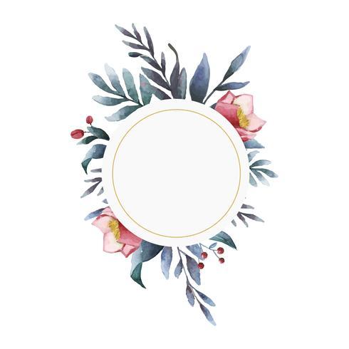 Hellebore blomma ram målad med vattenfärg vektor