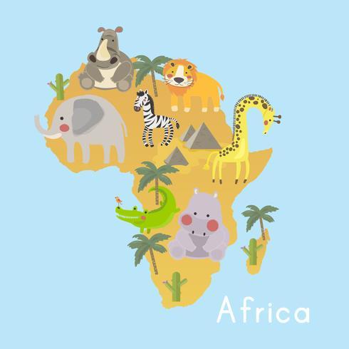 Ilustración de estilo de dibujo conjunto de hábitats de vida silvestre