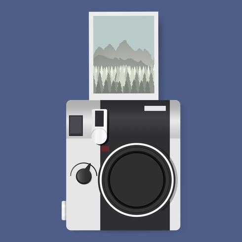 Camera with Captured Photo Graphic Illustration Vector
