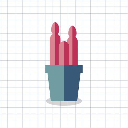 Ilustración de un cactus de color en una olla vector