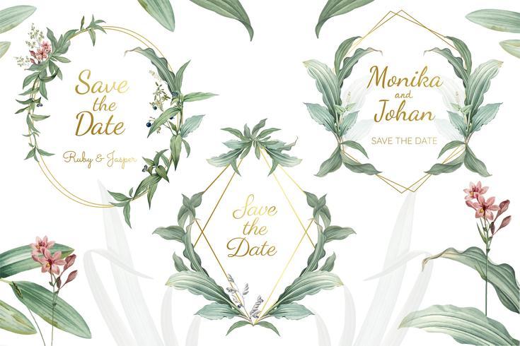 Groene bloemenhuwelijksuitnodiging frames vector