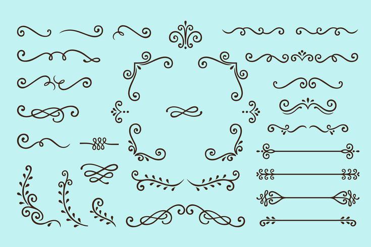 Impostare la raccolta di elementi di ornamento d'epoca su sfondo blu