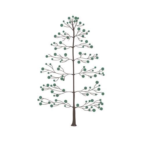 Árbol con vector de hojas verde redondo