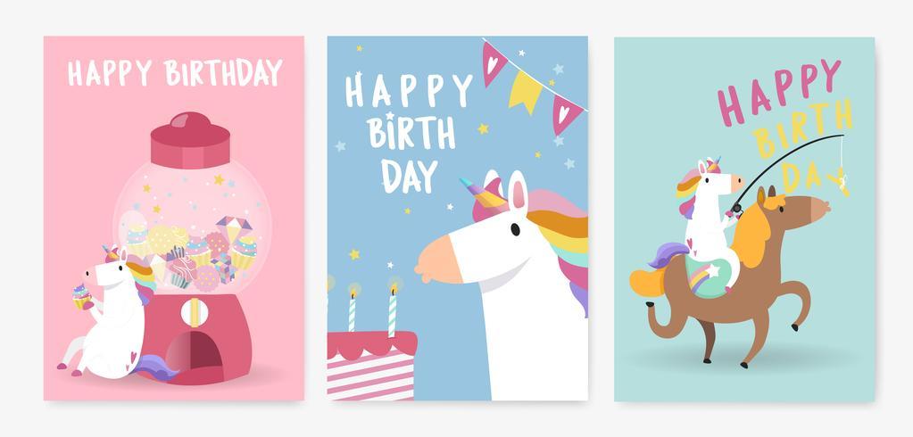 Reeks kleurrijke de kaartvectoren van de eenhoornverjaardag