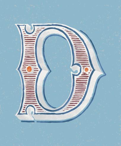 Stile di tipografia vintage lettera maiuscola D