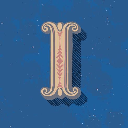 Mayúscula I estilo de tipografía vintage