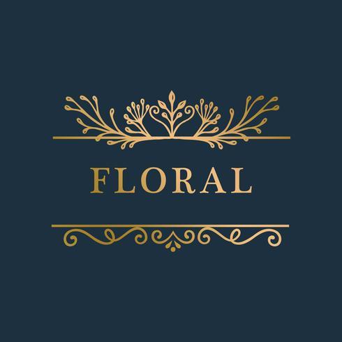 Fondo floral del marco de oro