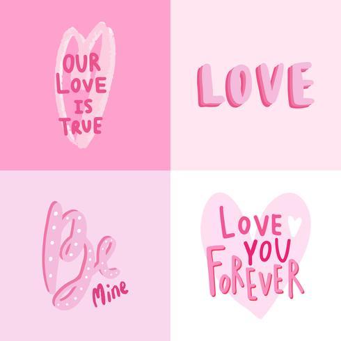 Coleção de tipografias de dia dos namorados