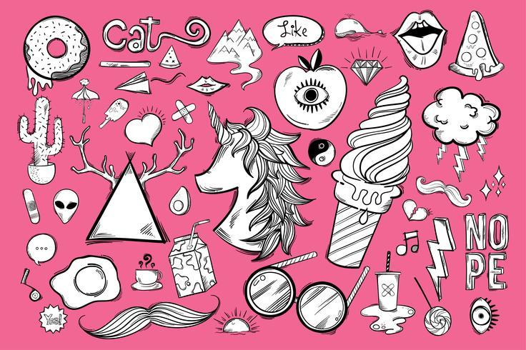 Set von niedlichen und coolen Icons