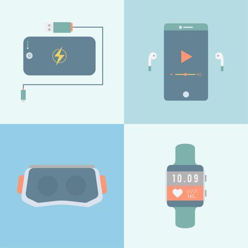 Set van verschillende moderne gadgets en apparaten