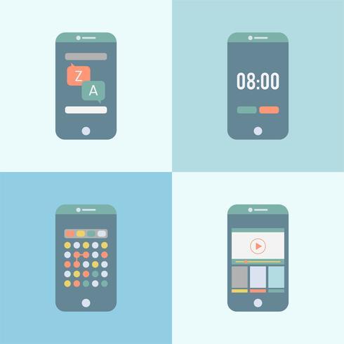 Ensemble de graphiques d'applications différentes sur le mobile