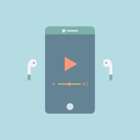 Gráfico de streaming de música en el teléfono móvil.