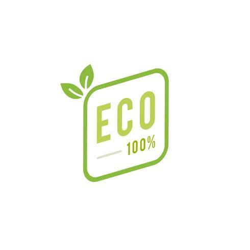Eco 100 percent badge emblem illustration